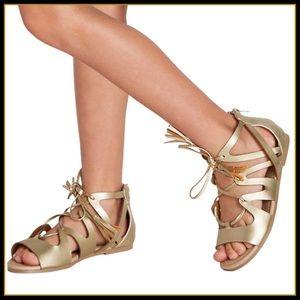New! Fab Kids Gold lace up Sandles Sz 5